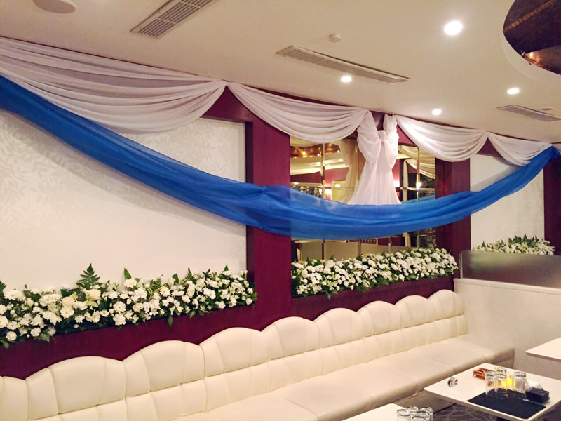 壁面生花&布装飾