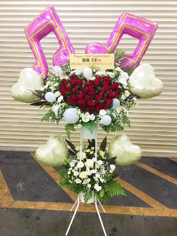赤バラハートスタンド花