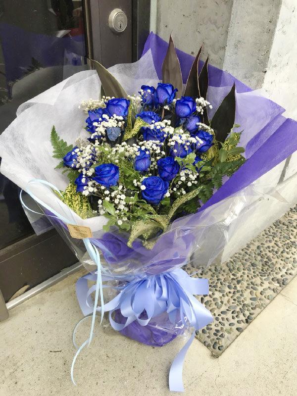 青バラブーケ花束