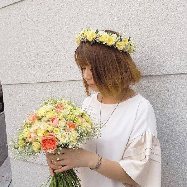 ウェディング花冠アイビーバラ結婚式